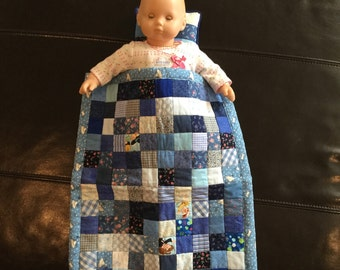 Pillow and Quilt for a doll, handmade and quilted
