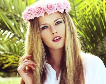 Flowercrown pink roses