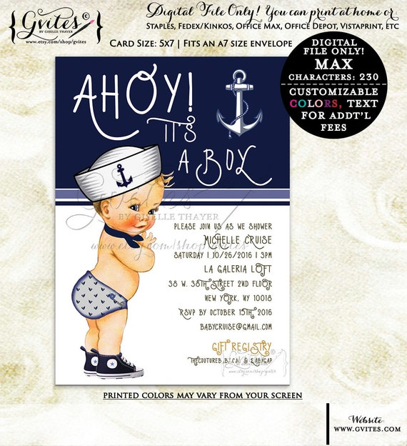 Little sailor baby shower printable invitations, ahoy it's a boy, baby boy navy blue invites, baby shower invitation, nautical. {You Print}