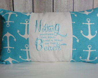 Throw Pillow. Anchor Pillow. Nautical Pillow Cover. Pillow Cover. Beach Decor. Beach Pillow