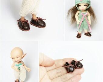 "Boots mini ""Chocolate"" for Pukipuki, Realpuki, Lati White Basic ver., DollPamm Bebe and dolls similar format"