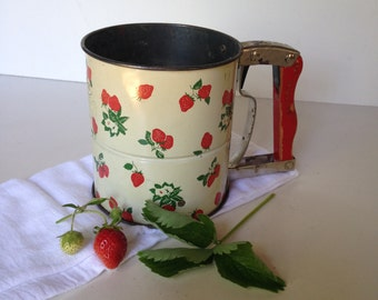 Mid Century Androck flour sifter vintage 1940s50s strawberries red wood handle retro kitchen from MilkweedVintageHome