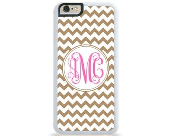 Chevron Ice Coffee Monogram Personalized iPhone Case, Monogram Personalized Galaxy Case