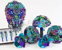 """Peacock Package, Wedding Package. """"My Peacock Theme"""" Wedding Collection. Bridal Package, Bridesmaid Broach Bouquets Package, Ruby Blooms"""