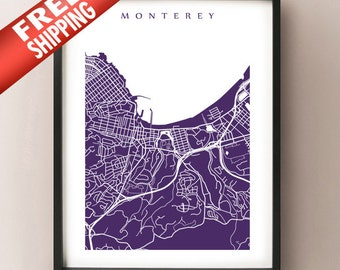 Monterey Map Print - California Poster