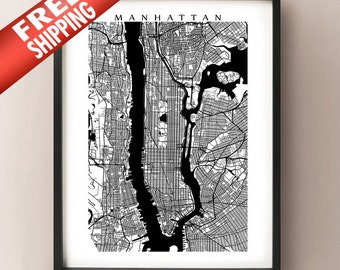 Manhattan Map Print - Black and White - New York Poster