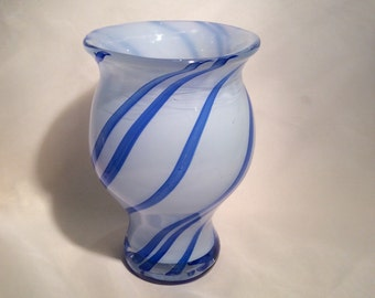 Hand Blown Glass Spiral Vase.  Blue Spiral Glass Art Vase.