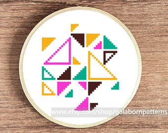 Triangles cross stich pattern contemporary cross stitch pattern abstract geometric geometric xstitch hand embroidery in hoop art work