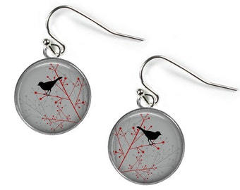 BIRD on BRANCH - Glass Picture Earrings - Silver Plated (Art Print Photo K16)