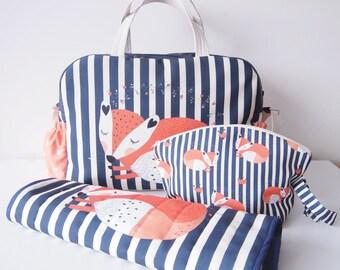 DIAPER BAG SET/  baby bag set/wet bag/ changing bag/ nappy bag set/ fox diaper bag set