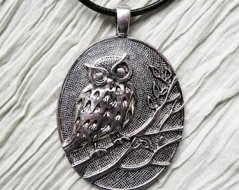 Owl Pendant Leather Necklace, Pendant Necklace, Long Statement Necklace