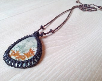 Macrame crimped Jasper landscape pendant