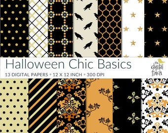 "Halloween Chic digital papers - scrapbooking paper - instant download - small commercial use - royalty free - 12x12"" - high res"
