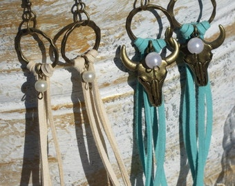 Earrings - Fringe, Leather, Charms, Antique Brass