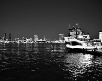 Black and White Coronado Island Ferry Landing San Diego California Photography - Night Ocean Replection Water Contrast Nautical Boat Print