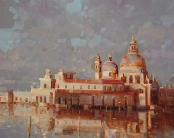 Venice, Cityscape and Architecture, Original oil Painting, Handmade art, Painting on Canvas, One of a Kind, Signed