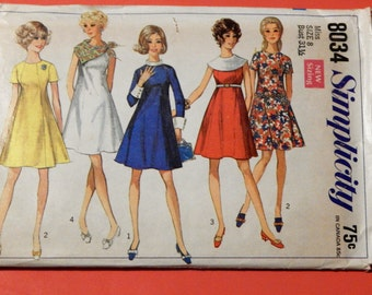 Vintage mod dress pattern Simplicity 8034 Princess seamed dress with collar variations Size 8