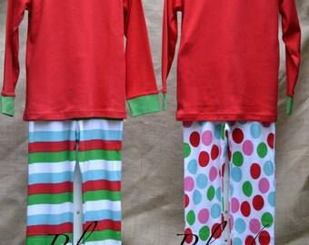 Monogram and/or Appliqué Unisex Striped Christmas Pajamas PJs