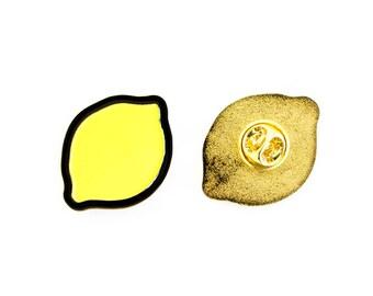 lemon pin, lemon, pin, enamel pin, soft enamel pin, gold pin, gold enamel pin, lemon pin