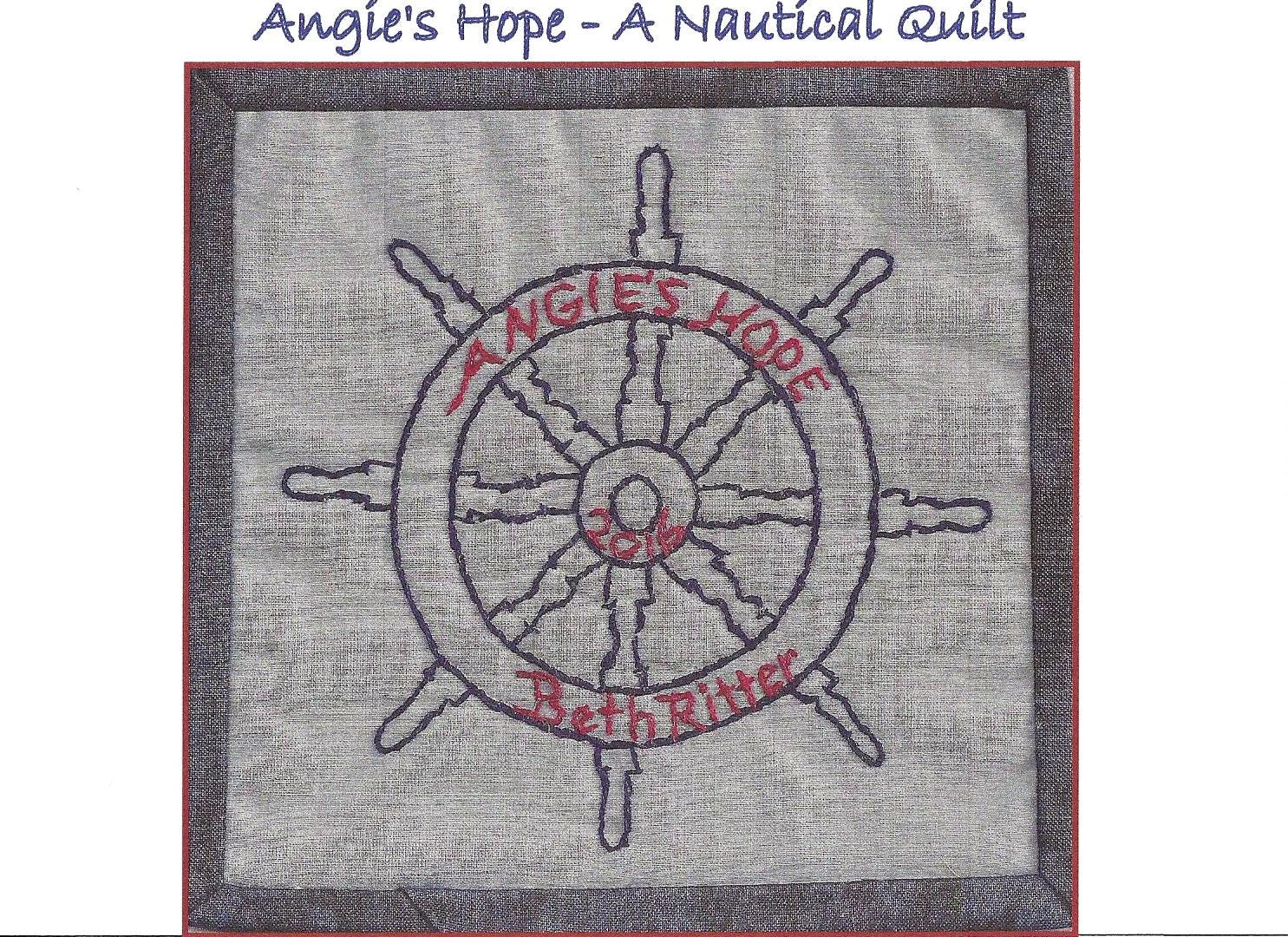 Captain s wheel quilt label hand embroidery pattern