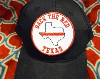 Back the RED - TEXAS - Thin Red Line Hat Patch - Fire - Firefighter -  DIGITAL Embroidery Design