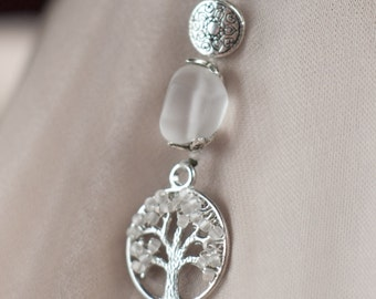 Tree of Life Winter Snow-  Long Woven Pearl Beaded Necklace ; Quartz, Wire Wrapped Icy Sterling Silver Pendant, with Beach Frosted Glass