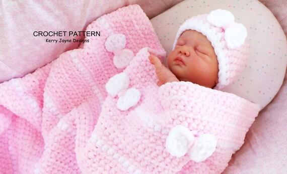 Crochet Chenille Baby Blanket Pattern : Crochet Pattern PEEK A BOW Baby Blanket and Hat Pattern