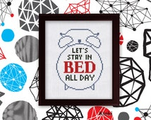 Cross Stitch Pattern Let's stay in bed Instant Download PDF Chart