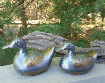 Pewter & Brass Duck Trinket Holder Set