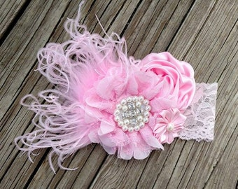 Over The Top Baby Pink lace Headband with feathers boutique