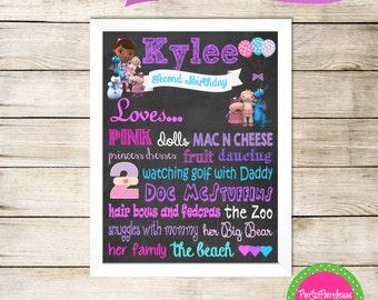 Doc Mcstuffin Birthday Chalkboard Poster- Doc Mcstuffins Birthday Party- Doc Mcstuffins