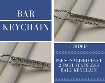 Personalized bar keychain, military spouse