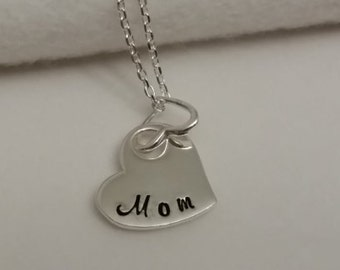 Mom heart necklace, double heart necklace