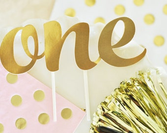 "Gold ""ONE"" First Birthday Cake Topper"