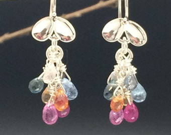 Sapphire Briolette Earrings, Natural Sapphire Earrings, Sapphire Cluster Earrings, Multi Colored Sapphire Earrings, Earrings under 200