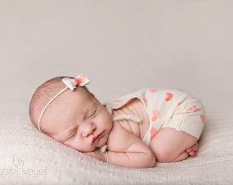 """Newborn Girl Romper- """"Sara"""" cream and peach hearts newborn romper with headband. Newborn girl photo outfit, newborn girl photo prop"""