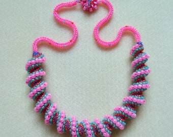 Spiral Beaded Necklace in Summer Colours