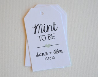 Mint to Be White Matte Small Label Tags - Custom Wedding Favor & Gift Tags - Choice of Colors