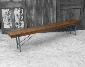 Folding School Bench - Industrial 1950s Pine