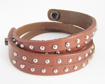 Mens Leather Metal Stud Cuff, Brown Leather Wrap Around Cuff, Mens Leather Bracelet, Leather Stacking Bracelets, Leather Rivet Strap for Men