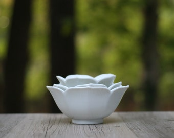 Set of Thee Nesting White Lotus Bowls / Three White Porcelain Lotus Bowls / Nesting White Bowls