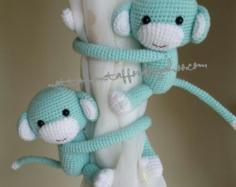 A pair of Light Blue Monkey Curtain Tiebacks,  (Both sides)  MADE TO ORDER.