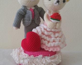 Bride and Groom Dolls Music Rotating Box, Wedding crochet dolls,wedding gift.