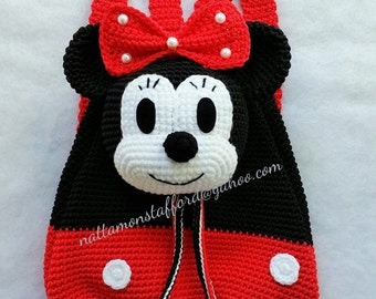Minnie Mouse backpack, Handmade crochet backpack  birthday gift, christmas gift,perfect to every girls.