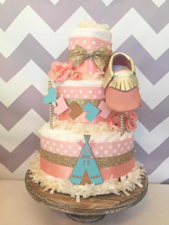 Boho Diaper Cake in Blush Pink Mint and Gold Tribal Baby
