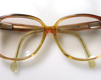 Brown Ombre Oversize Eyeglasses Retro 70s 80s Owl Glasses