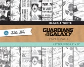 Guardians of the Galaxy Black & White Letter Sized Paper Pack : 16 Printable Digital Scrapbook Papers
