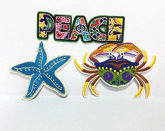 Cutie Carb (9.5 x 6.5 cm) Starfish (7 x 8 cm) Full Embroidered Applique Iron on Patch (B)