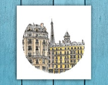 Paris street scene art, Eiffel Tower, ART PRINT- Prints from my detailed pen drawing & watercolour painting. A great gift for Paris lovers!