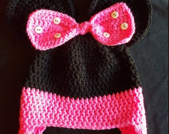 Minnie mouse hat (black/pretty n pink), childs cap, earflap beanie